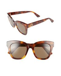 24161269938 Lyst - Gucci 50mm Cat Eye Sunglasses - Havana  Brown in Brown