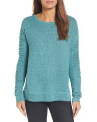 Caslon | Blue Caslon Ruched Sleeve Pullover | Lyst