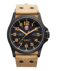 Luminox - Brown 'land - Atacama Field' Leather Strap Watch for Men - Lyst