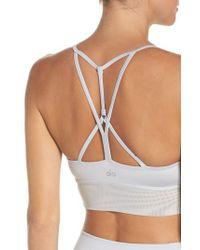Alo Yoga - Gray 'lush' Longline Sports Bra - Lyst