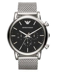 Emporio Armani - Metallic Chronograph Mesh Strap Watch for Men - Lyst