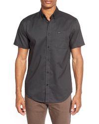 RVCA | Black 'that'll Do' Slim Fit Short Sleeve Oxford Shirt for Men | Lyst