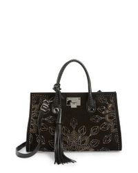 Jimmy Choo | Brown Riley Micro Studded Leather Tote | Lyst