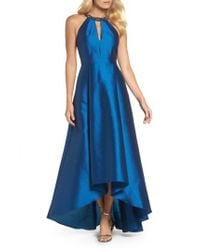 Adrianna Papell | Blue Beaded Neck Faille Gown | Lyst