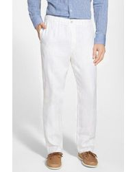 Tommy Bahama | White 'new Linen On The Beach' Easy Fit Pants for Men | Lyst