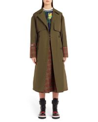 MSGM - Multicolor Tartan Detail Trench Coat - Lyst