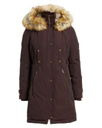 Vince Camuto - Brown Faux Fur Trim Down & Feather Fill Parka - Lyst