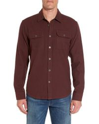 Prana - Red Lybek Regular Fit Herringbone Flannel Shirt for Men - Lyst