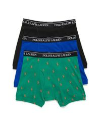 Polo Ralph Lauren - Assorted 3-pack Cotton Boxer Briefs, Green for Men - Lyst