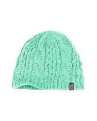 The North Face - Green 'minna' Cable Knit Beanie - Lyst