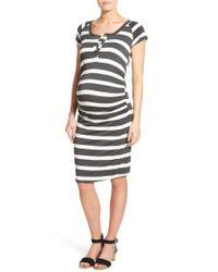 Lab40 - Gray Toni Striped Maternity Midi Dress - Lyst