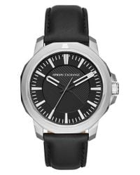 Armani Exchange - Black Three-hand Leather Strap Watch for Men - Lyst