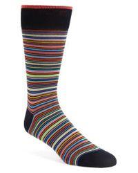 Bugatchi | Blue Multi Stripe Socks for Men | Lyst