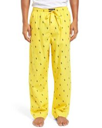 Polo Ralph Lauren - Yellow Cotton Lounge Pants for Men - Lyst