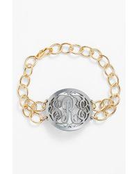 Moon & Lola | Metallic 'annabel' Medium Oval Personalized Monogram Bracelet (nordstrom Exclusive) | Lyst