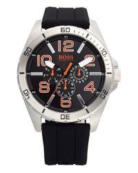 BOSS Orange | Black 'big Time' Multifunction Silicone Strap Watch for Men | Lyst