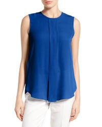 Vince Camuto | Blue Center Pleat Sleeveless Blouse | Lyst