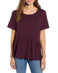 Caslon - Purple Caslon Raw Edge Peplum Top - Lyst