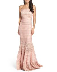 Tadashi Shoji | Pink Strapless Lace Inset Pintuck Jersey Gown | Lyst