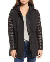 Vince Camuto | Black Mixed Media Soft Shell Jacket | Lyst