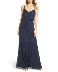 Adrianna Papell | Blue Beaded Chiffon Blouson Gown | Lyst