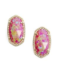Kendra Scott - Pink Ellie Oval Stud Earrings - Lyst