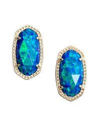 Kendra Scott | Blue Ellie Oval Stud Earrings | Lyst