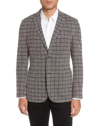Vince Camuto - Gray Del Aria Slim Fit Check Knit Jacket for Men - Lyst