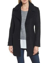 Laundry by Shelli Segal - Black Contrast Collar Boucle Coat - Lyst