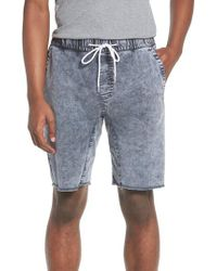 The Rail - Blue Acid Wash Jogger Shorts for Men - Lyst