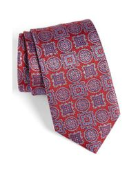 David Donahue - Red Medallion Silk Tie for Men - Lyst