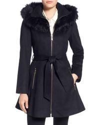 Laundry by Shelli Segal - Blue Laundry By Shelly Segal Faux Fur Trim Wool Blend Fit & Flare Coat - Lyst