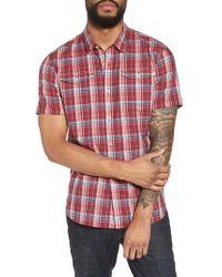 John Varvatos Red Extra Slim Fit Plaid Sport Shirt for men