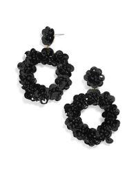 BaubleBar - Black Sequin Floral Hoop Earring - Lyst