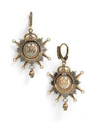 Alexander McQueen   Metallic Medallion Drop Earrings   Lyst