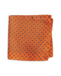 Eton of Sweden - Orange Geometric Silk Pocket Square - Lyst
