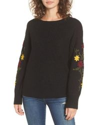 Dreamers By Debut | Black Embroidered Sleeve Sweater | Lyst