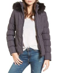 Maralyn & Me - Black Quilted Jacket With Faux Fur Collar - Lyst