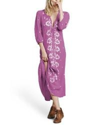 Free People - Purple Embroidered Maxi Dress - Lyst