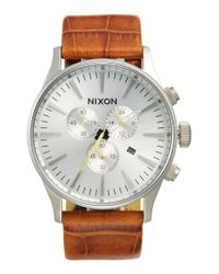 Nixon - Metallic 'sentry Chrono' Embossed Leather Strap Watch for Men - Lyst
