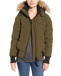 Canada Goose | Green 'savona' Bomber Jacket With Genuine Coyote Fur Trim | Lyst