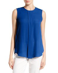 Vince Camuto - Blue Center Pleat Sleeveless Blouse - Lyst