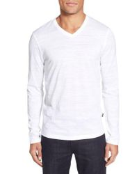 BOSS - White 'tyson' V-neck Long Sleeve T-shirt for Men - Lyst