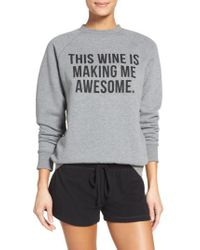 BRUNETTE the Label - Gray 'this Wine' Crewneck Sweatshirt - Lyst