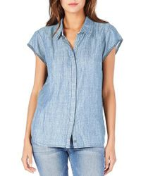 Michael Stars - Blue Back Cutout Chambray Top - Lyst
