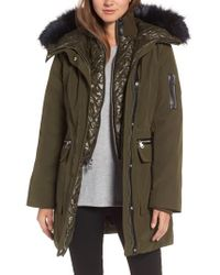 Vince Camuto | Green Bib Insert Down & Feather Fill Coat | Lyst