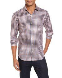 Culturata - Orange Slim Fit Check Twill Sport Shirt for Men - Lyst