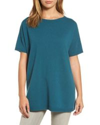 Eileen Fisher - Blue Cashmere Tunic Sweater - Lyst