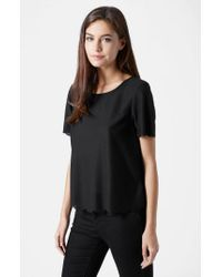 TOPSHOP - Black Scallop Frill Tee - Lyst