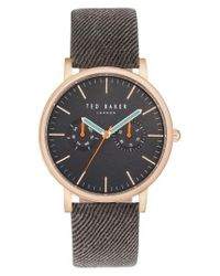 Ted Baker | Gray Brit Multifunction Textured Canvas Strap Watch | Lyst
